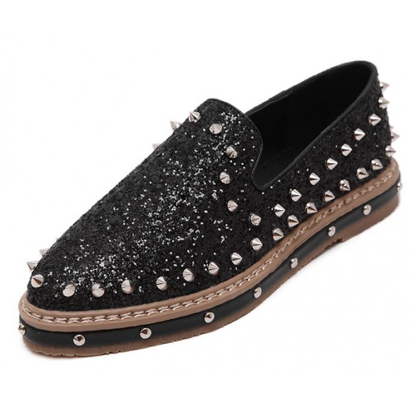 Black Glittering Bling Bling Spikes Studs Punk Rock Loafers Flats Shoes
