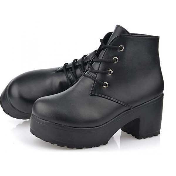 Black Lace Up Ankle Platforms Block Heels Sole Boots
