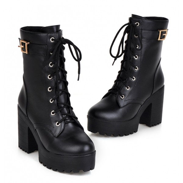 Black Lace Up High Top Platforms Heels Military Combat Boots