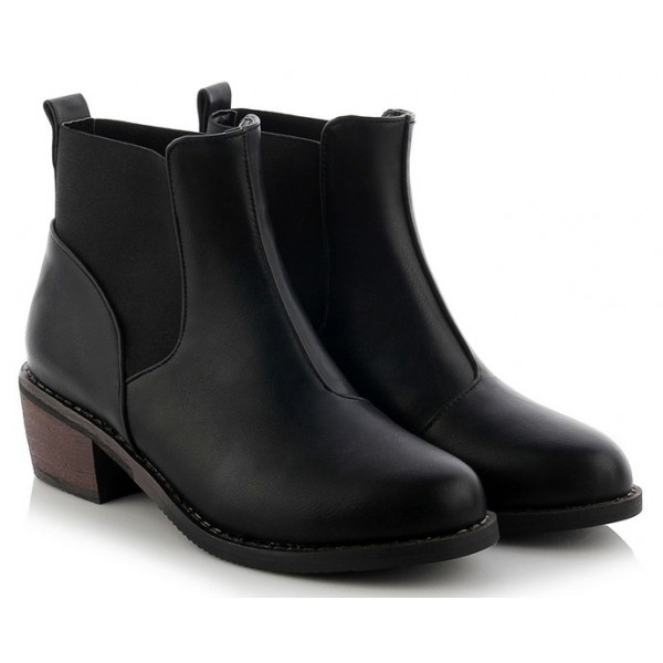Black Leather Rock Ankle Chelsea Boots Shoes