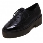 Black Patent Leather Lace Up Platforms Oxfords Shoes