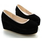 Black Velvet Suede Platforms Ballets Ballerina Flats Loafers Shoes