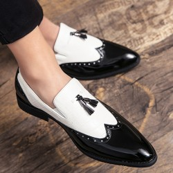 Black White Tassels Glossy Patent Pointed Head Loafers Flats Dress Shoes