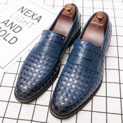 Blue Knitted Leather VIntage Mens Oxfords Loafers Dress Shoes Flats
