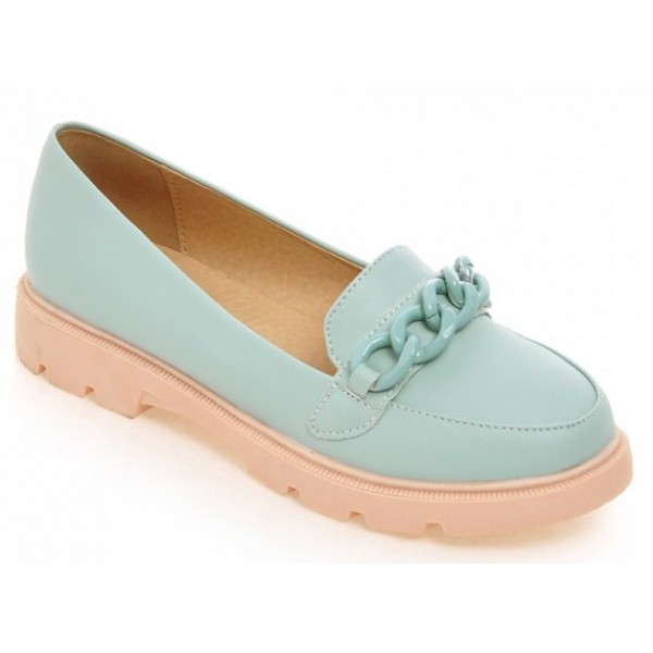 Blue Pink Pastel Chain Ballets Ballerina Flats Loafers Shoes
