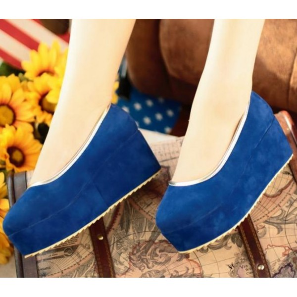 Blue Royal Velvet Suede Platforms Ballets Ballerina Flats Loafers Shoes