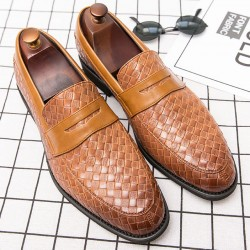 Brown Knitted Leather VIntage Mens Oxfords Loafers Dress Shoes Flats