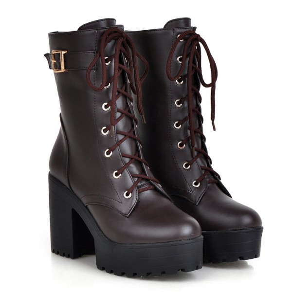 Brown Lace Up High Top Platforms Heels Military Combat Boots