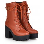 Brown Lace Up High Top Platforms Heels Military Combat Boots Shoes