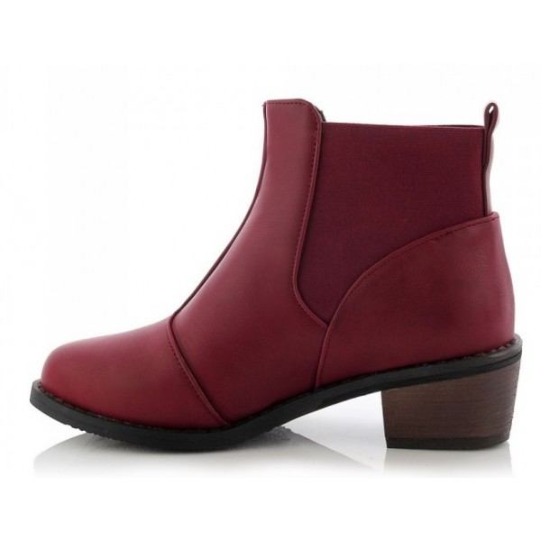 Burgundy Leather Punk Rock Ankle Chelsea Boots Shoes