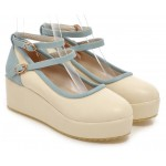 Cream Blue Ankle Straps Platforms Ballets Ballerina Lolita Flats Loafers Shoes