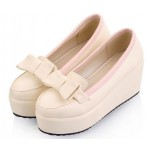 Cream Bow Platforms Ballets Ballerina Lolita Flats Loafers Shoes