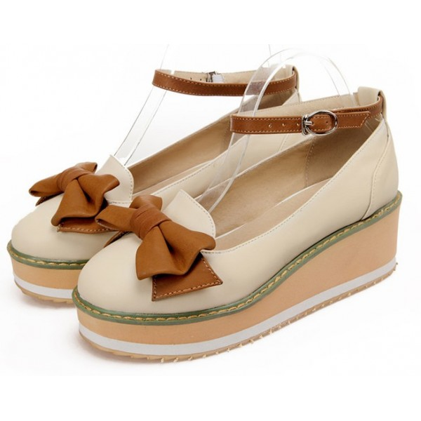 Cream Brown Bow Platforms Ballets Ballerina Wedges Lolita Flats Loafers Shoes
