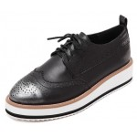 Grey Silver Leather Lace Up Baroque Platform Oxfords Shoes Sneakers