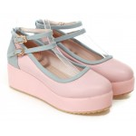 Pink Blue Ankle Straps Platforms Ballets Ballerina Lolita Flats Loafers Shoes