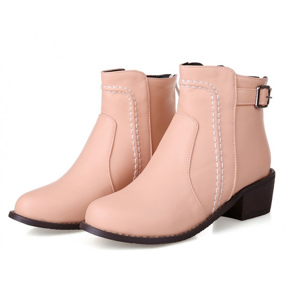 Pink Leather Punk Rock Ankle Cosplay Chelsea Boots Shoes