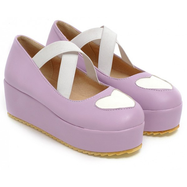 Purple Heart Cross Straps Platforms Ballets Ballerina Lolita Flats Loafers Shoes