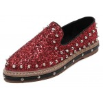 Red Glittering Bling Bling Spikes Studs Punk Rock Loafers Flats Shoes