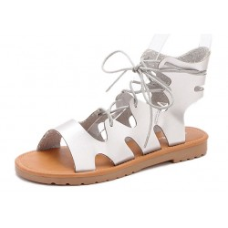 Silver Straps Gladiator Roman High Top Sandals Flats Shoes