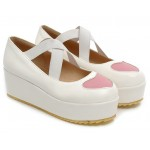 White Heart Cross Straps Platforms Ballets Ballerina Lolita Flats Loafers Shoes