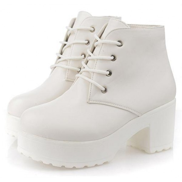 White Lace Up Ankle Platforms Block Heels Sole Boots