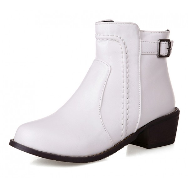 White Leather Punk Rock Ankle Cosplay Chelsea Boots Shoes