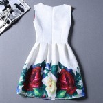 White Love Roses Sleeveless A Line Skater Mini Party Cocktail Skirt Dress