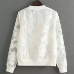 Black White Crochet Lace Flowers Baseball Aviator Bomber Rider Jacket