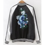 Black Satin Embroidery White Tiger Baseball Aviator Bomber Rider Jacket
