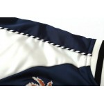 Blue Navy Satin Embroidery Flowers Baseball Aviator Bomber Rider Jacket