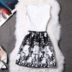 Black White Flowers Retro Sleeveless A Line Skater Mini Party Cocktail Skirt Dress