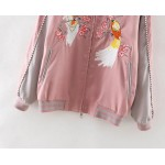 Pink Grey Satin Embroidery Phoenix Baseball Aviator Bomber Rider Jacket