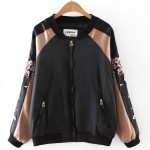 Black Pink Satin Embroidery Blossoms Deer Baseball Aviator Bomber Rider Jacket