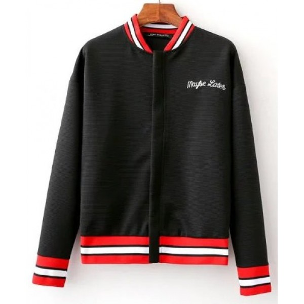 Black Red Embroidery Maybe Later Baseball Aviator Bomber Rider Jacket