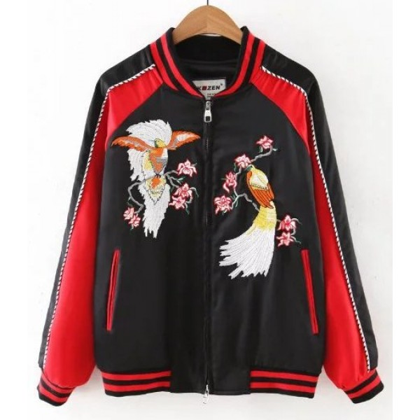 Black Red Satin Embroidery Phoenix Baseball Aviator Bomber Rider Jacket
