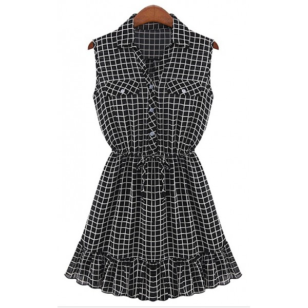Black White Checkers Sleeveless Chiffon Blouse Shirt Mini Skirt Dress