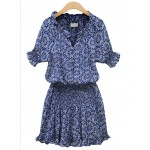 Blue Bohemian Retro Beach V Neck Short Sleeves Shirt Mini Skirt Dress