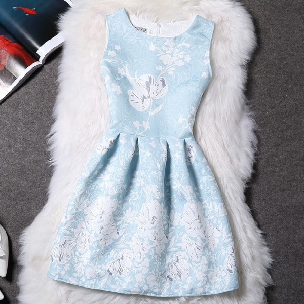 Blue White Flowers Retro Sleeveless A Line Skater Mini Party Cocktail Skirt Dress