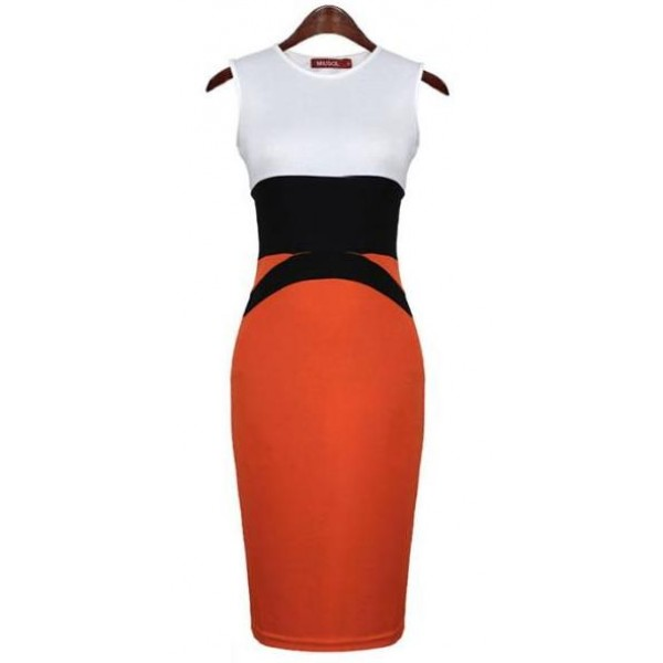 Orange White Sleeveless Bodycon Sexy Dress Skirt