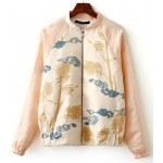 Pink Cream Satin Tiger Oriental Baseball Aviator Bomber Rider Jacket