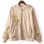 Pink Gold Embroidery Flowers Satin Baseball Aviator Bomber Rider Jacket