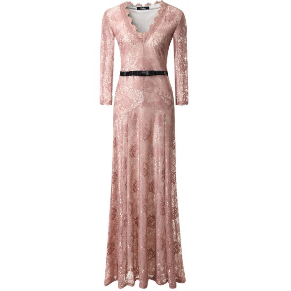 Pink Sexy Lace Long Sleeves Goddess Cocktail Bridal Mermaid Tail Maxi Dress Gown