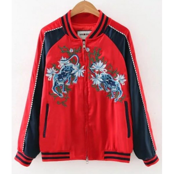 Red Blue Embroidery White Tiger Baseball Aviator Bomber Rider Jacket