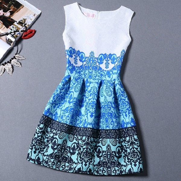 White Blue Retro Baroque Sleeveless A Line Skater Mini Party Cocktail Skirt Dress