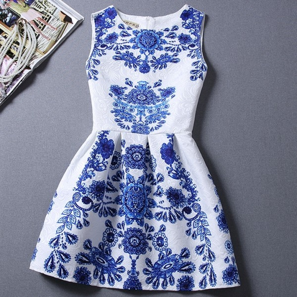 White Blue Retro Sleeveless A Line Skater Mini Party Cocktail Skirt Dress