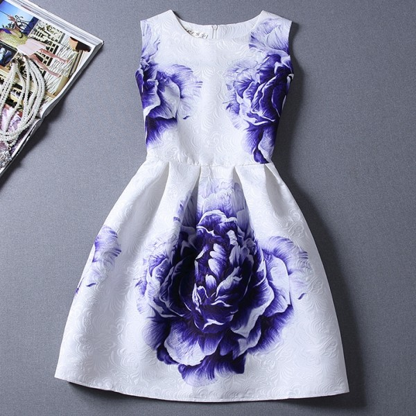 White Blue Roses Sleeveless A Line Skater Mini Party Cocktail Skirt Dress