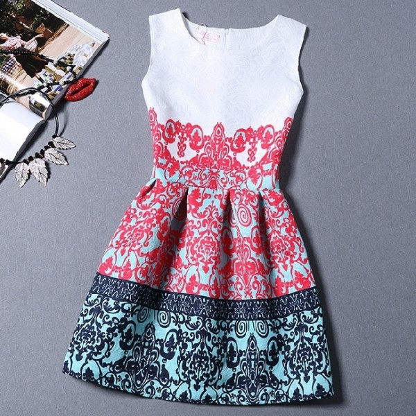 White Red Retro Baroque Sleeveless A Line Skater Mini Party Cocktail Skirt Dress