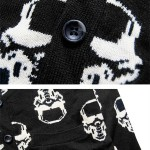 Black Skulls Punk Rock Long Sleeves Knit Mens Sweater Cardigan