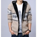 Khaki Snowflakes Old School Knitted Long Sleeves Mens Cardigan Hoodie Hooded Jacket