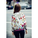 White Satin Vintage Blooming in Your Garden Baseball Aviator Bomber Rider Jacket